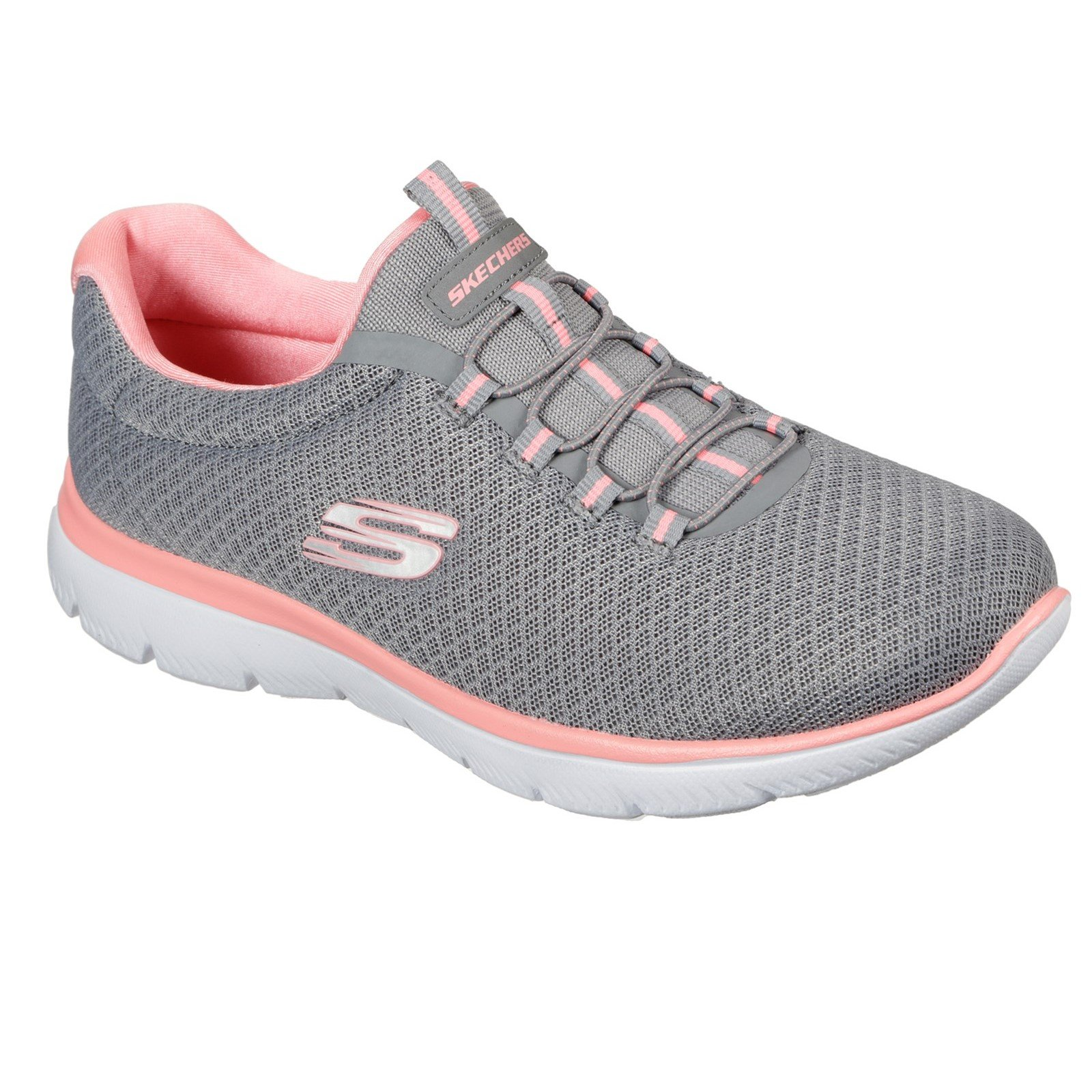 Skechers Women's Summits Slip On Trainer Various Colours 30708 - Grey/Pink 5