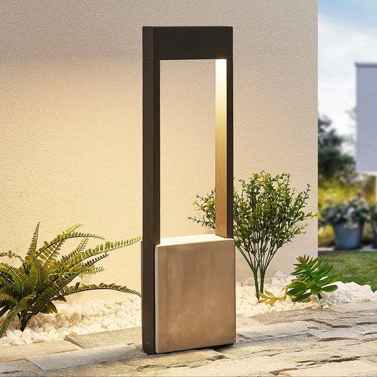 Lucande Tekiro -LED-pylväsvalaisin betonia, 60 cm