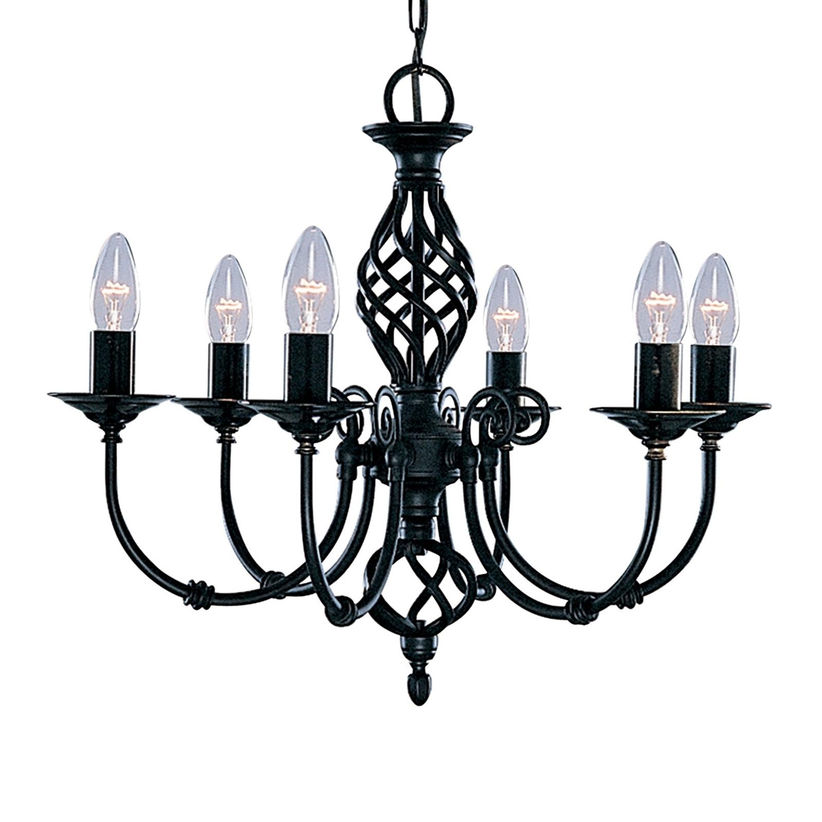 Tyylikäs, 6-lamppuinen musta ZANZIBAR-kattokruunu