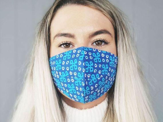 Patterned Blue Cotton Face Mask Blue