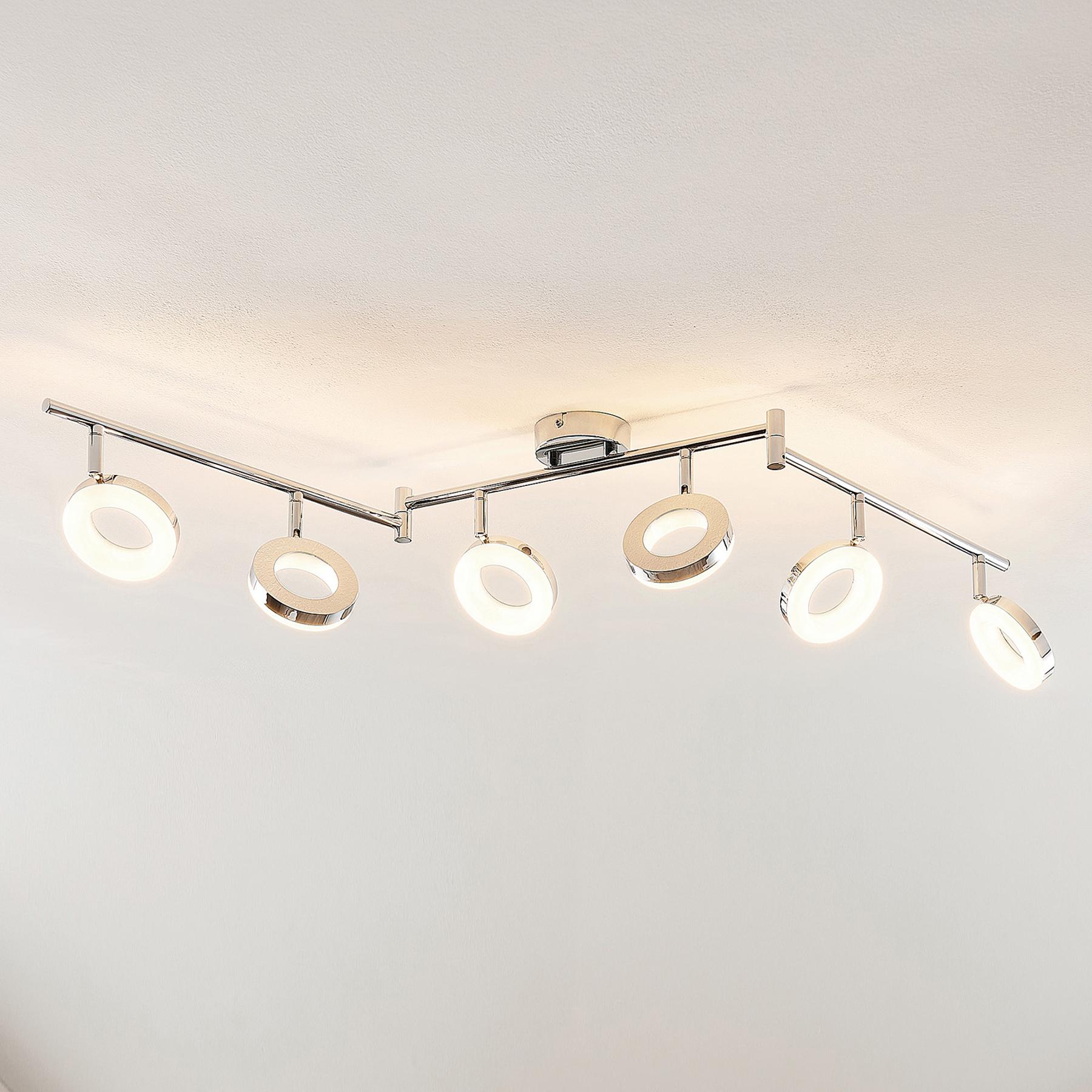 ELC Tioklia -LED-kattovalo, kromia, 6-lamppuinen