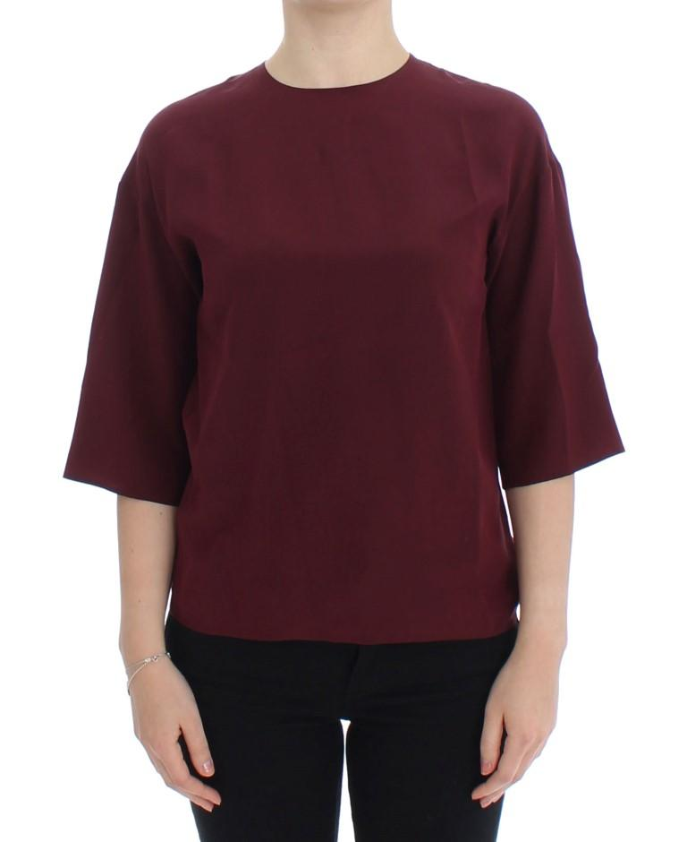 Dolce & Gabbana Women's 3/4 Sleeve silk Top Red SIG13327 - IT36|XXS