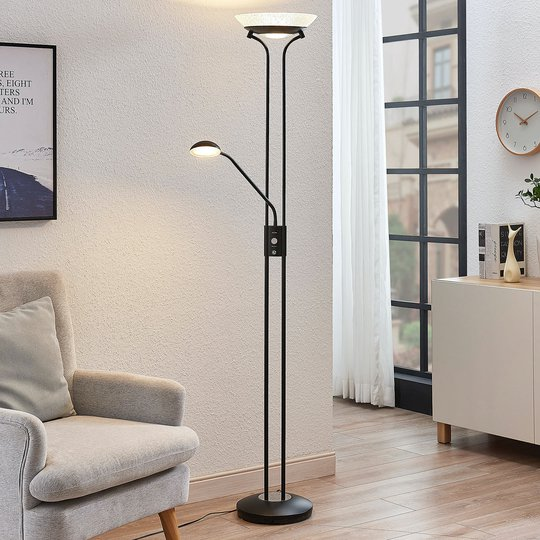 LED-uplight Dimitra m. leselampe, svart