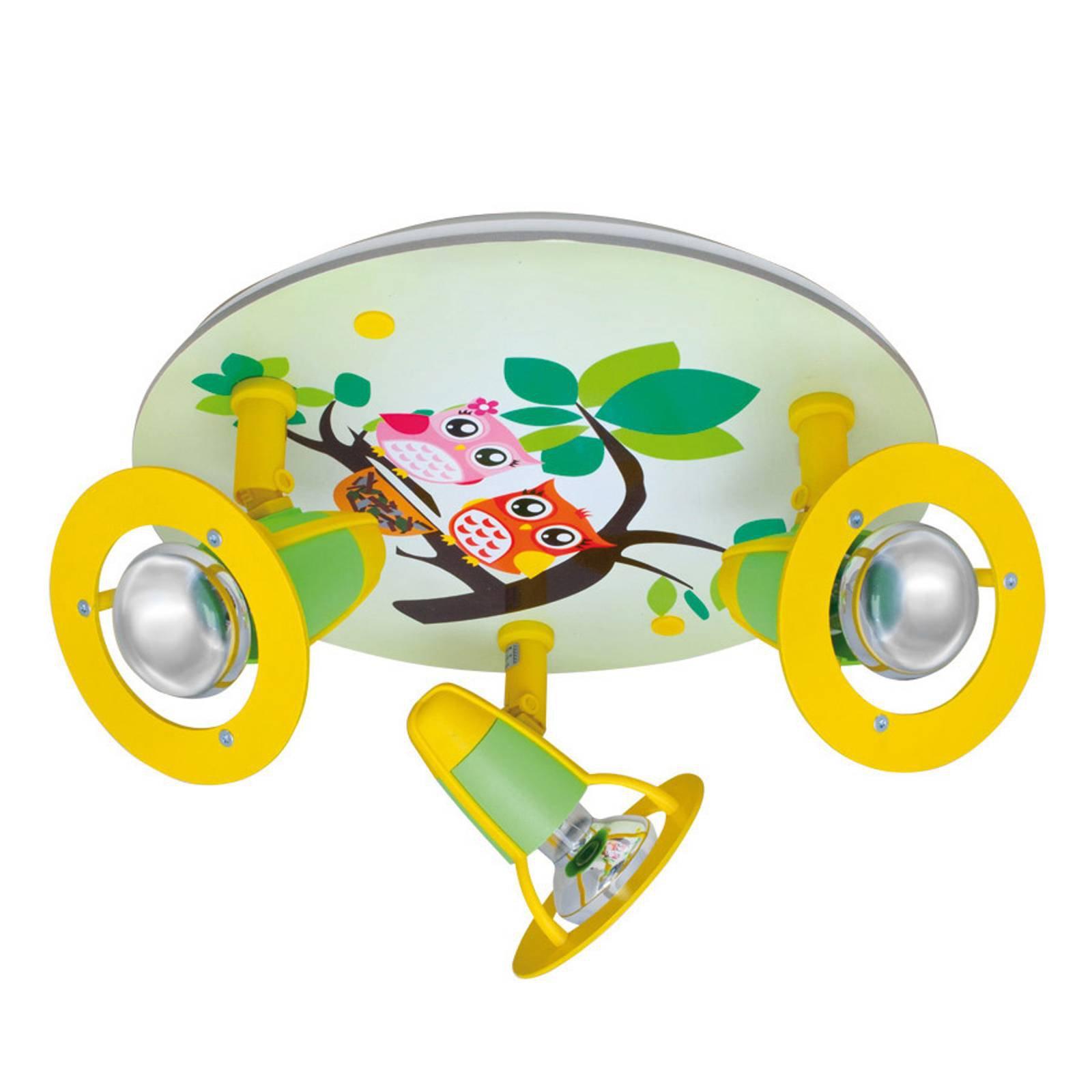 Taklampe Ugle til barnerom, grønn og gul