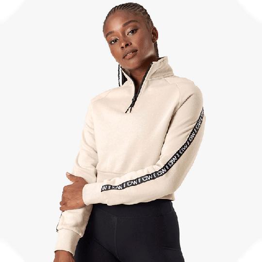 Essential Cropped Logo Sweater, Beige
