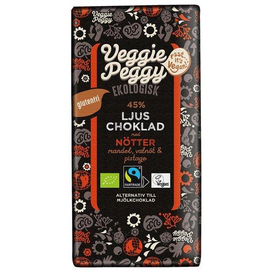 Veggie Peggy Ekologisk Ljus Choklad med Nötter, 85 g