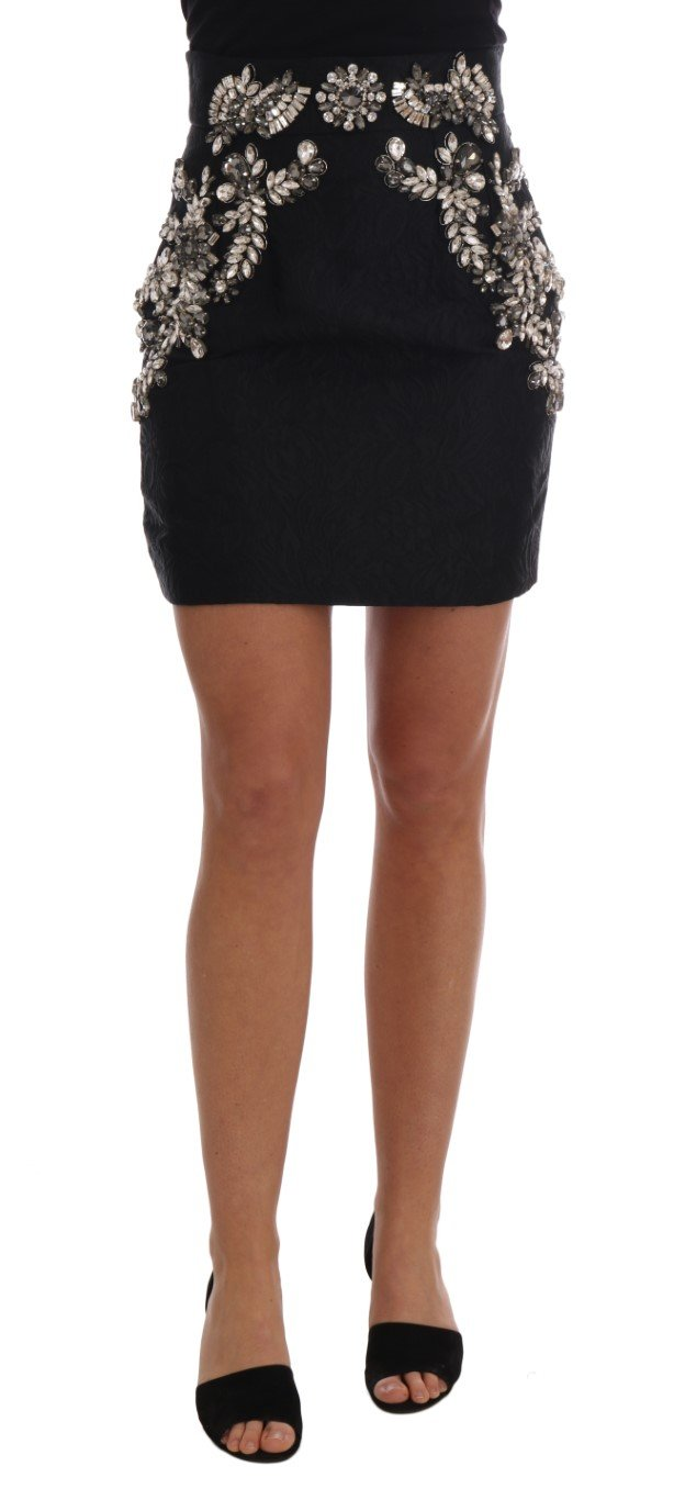 Dolce & Gabbana Women's Brocade Crystal High Mini Skirt Black SKI1131 - IT38 XS