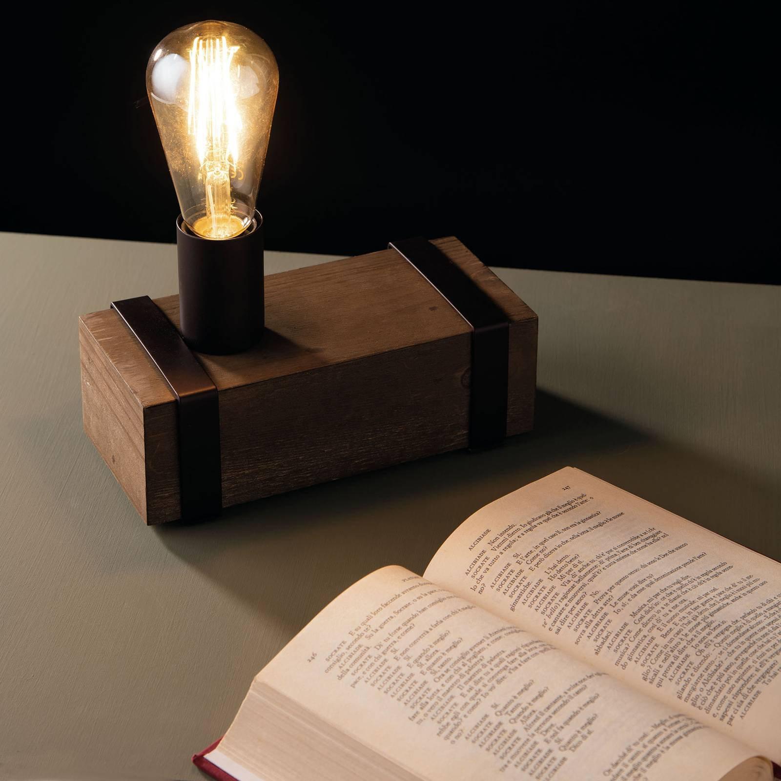 Bordlampe Texas av antikt tre, 1 lyskilde