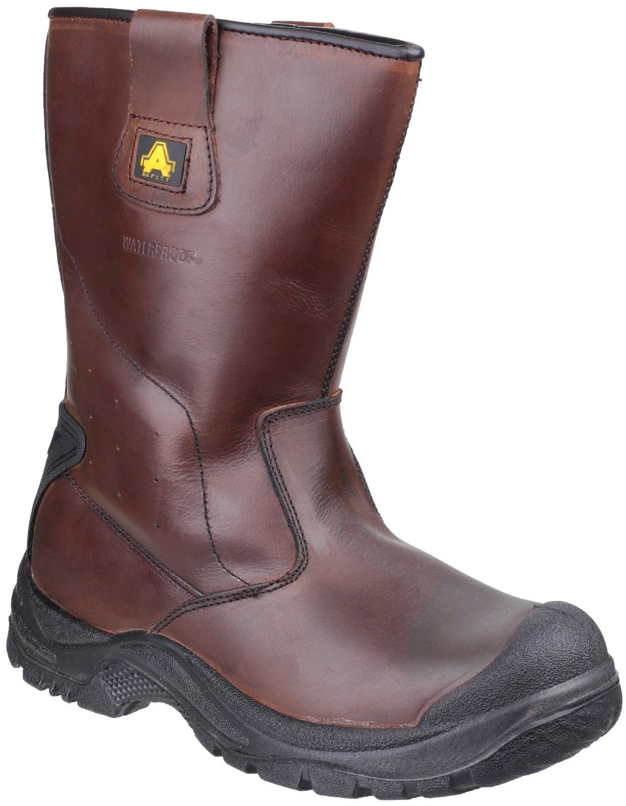 Amblers Unisex Safety Cadair Waterproof Pull on Rigger Boot Brown 24340 - Brown 12