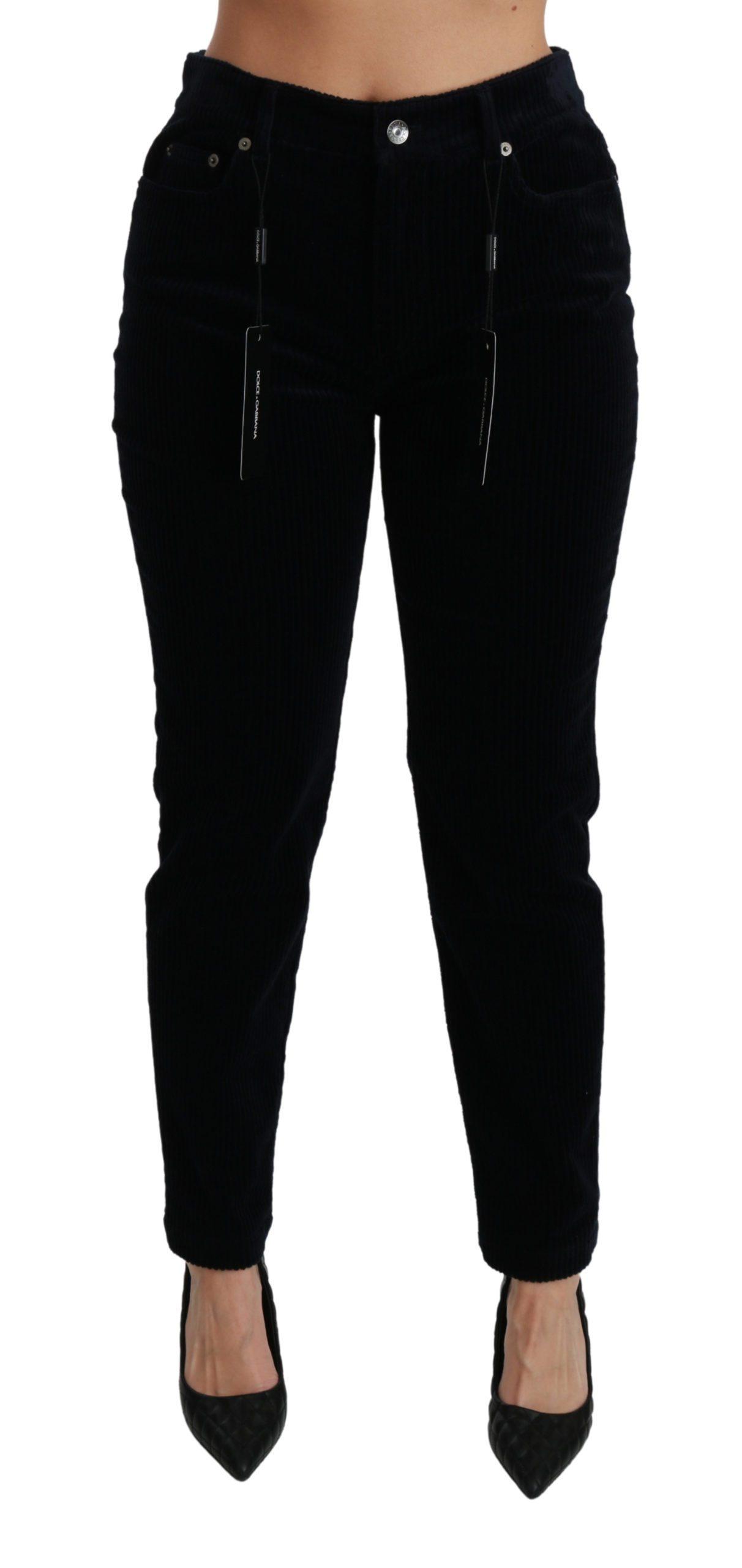 Dolce & Gabbana Women's Corduroy Mid Waist Skinny Jeans Blue PAN70925 - IT38 XS