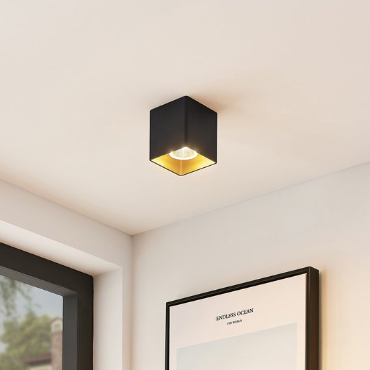 Arcchio Zaki -LED-kattovalaisin, kulmikas, musta