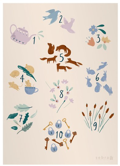 Sebra Poster Numbers Daydream