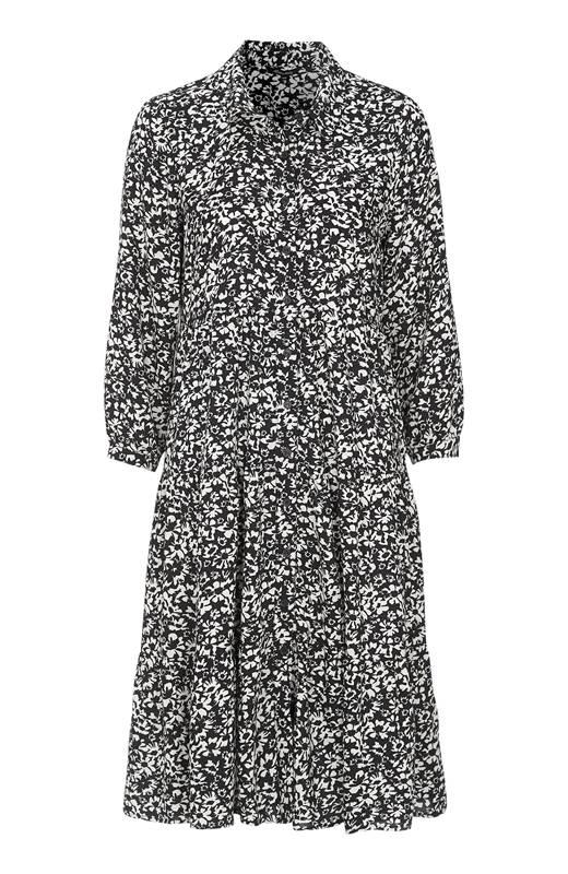 Happy Holly Skjortklänning Elsie Ljusbeige Svart
