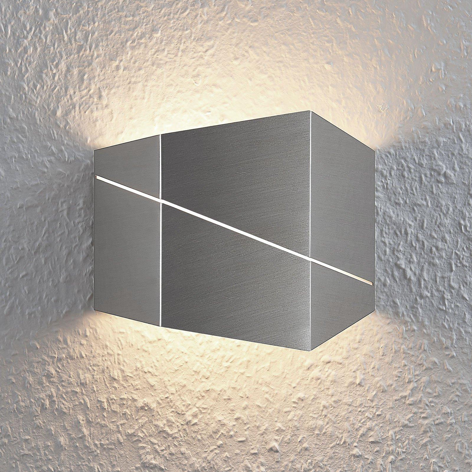 LED-vegglampe Nikolae, 18 cm, matt nikkel