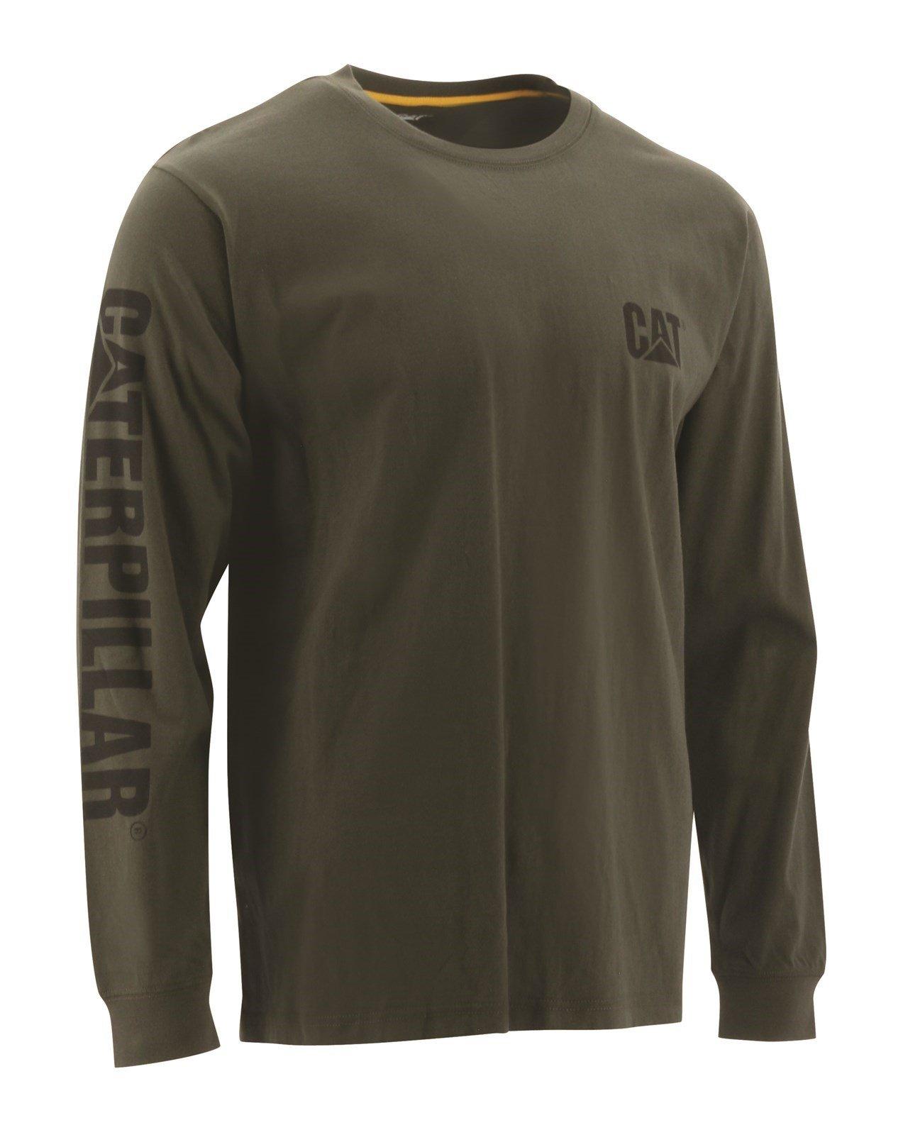 Caterpillar Unisex Trademark Banner LS T-Shirt Chive 18496 - Chive Sml
