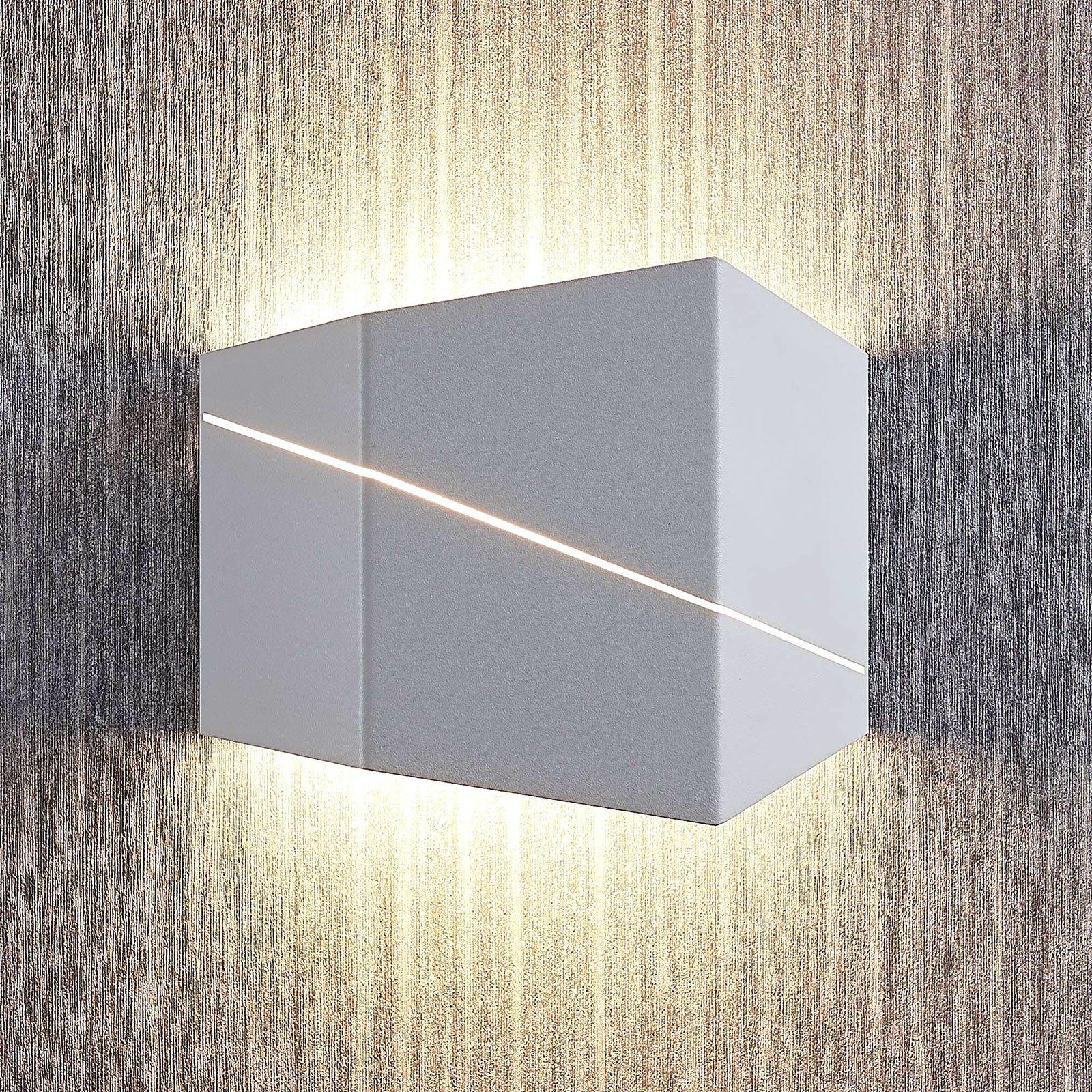 LED-vegglampe Nikolae, 18 cm, hvit
