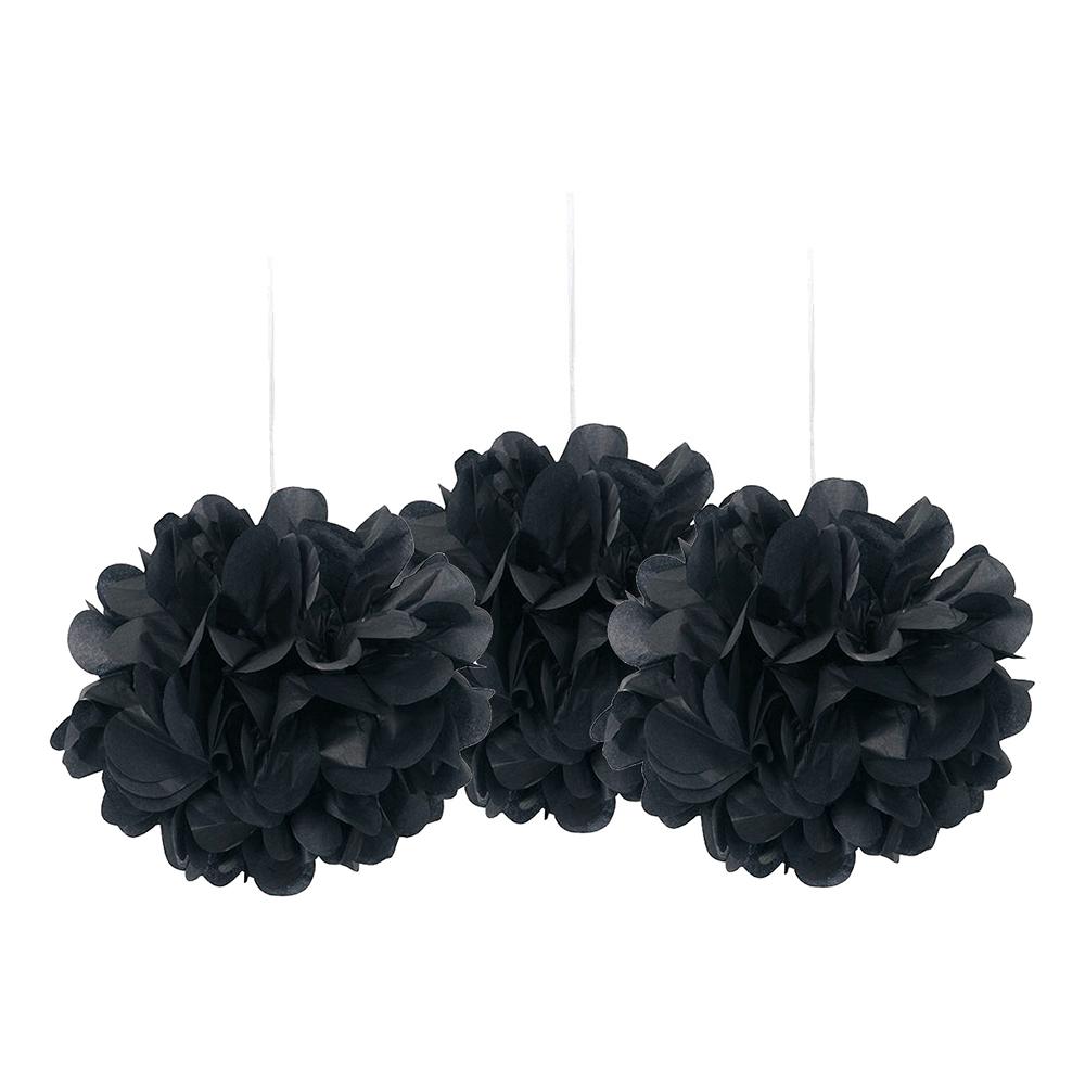 Pom Pom Mini Svarta Hängande Dekoration - 3-pack