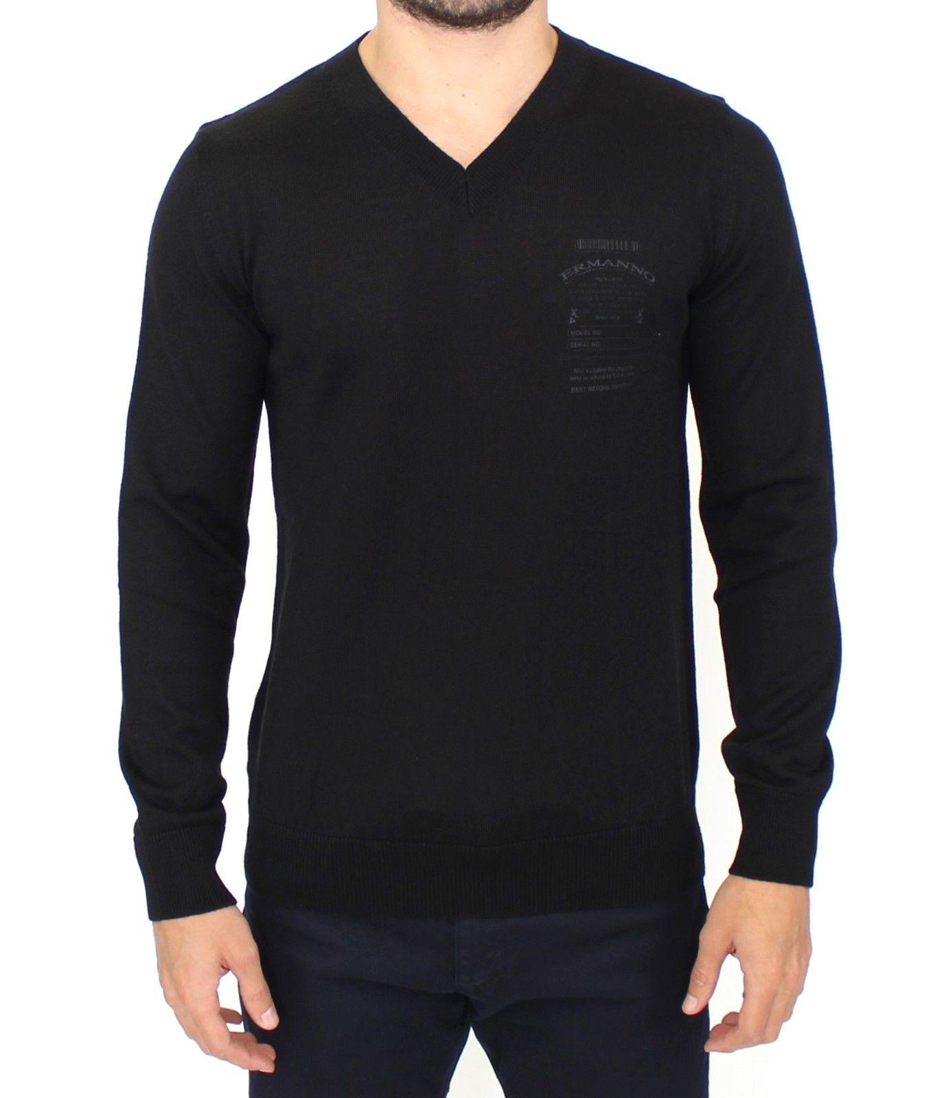 Ermanno Scervino Men's V-Neck Sweater Black SIG10107 - IT48 | M