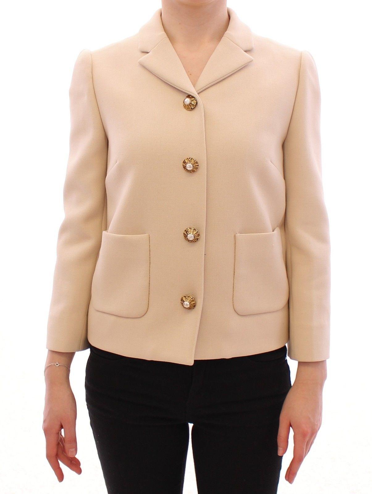 Dolce & Gabbana Women's Wool Pearl Button Jacket Beige GSD13667 - IT40