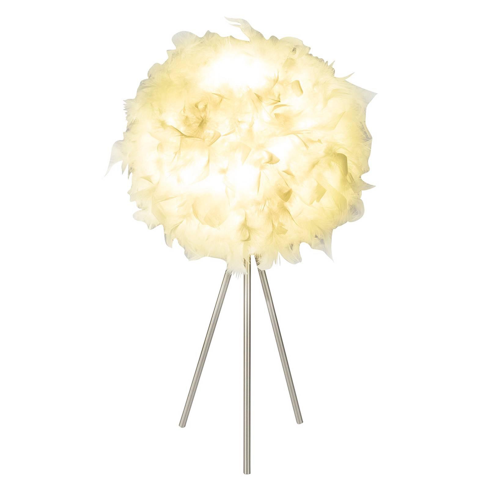 Trebeint bordlampe Katunga med ekte fjær