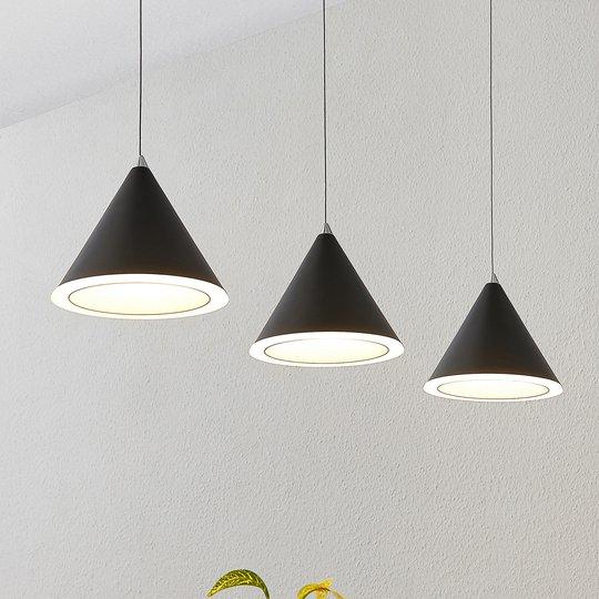 Lucande -LED-riippuvalaisin Livan, musta, 3-lamp.