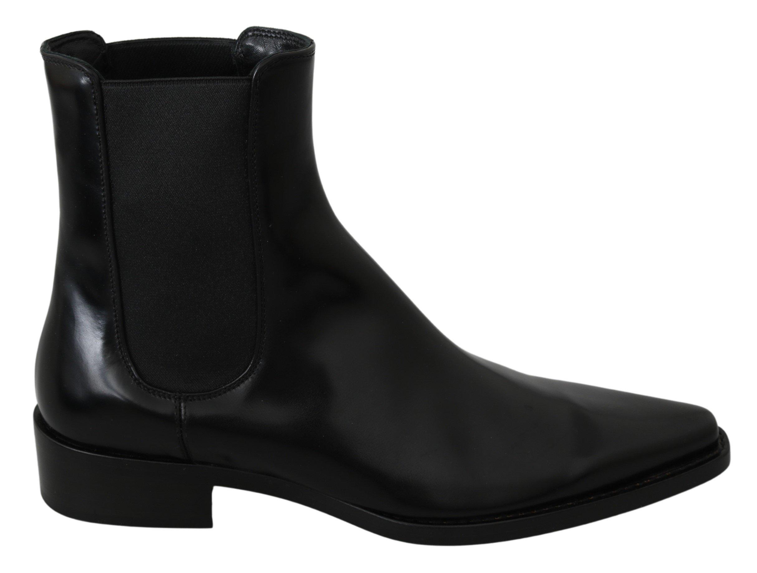 Dolce & Gabbana Women's Flats Pointed Leather Boot Black LA7053 - EU37/US6.5