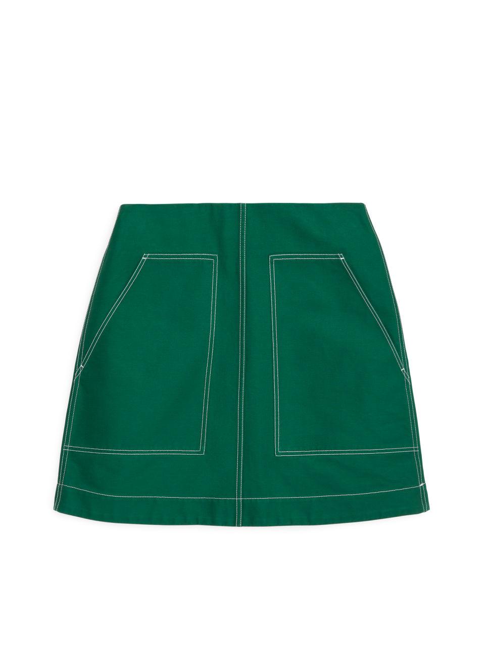 Heavy Cotton Mini Skirt - Green