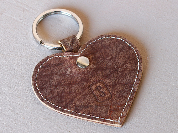 Leather Heart Keyring Brown Extra Small
