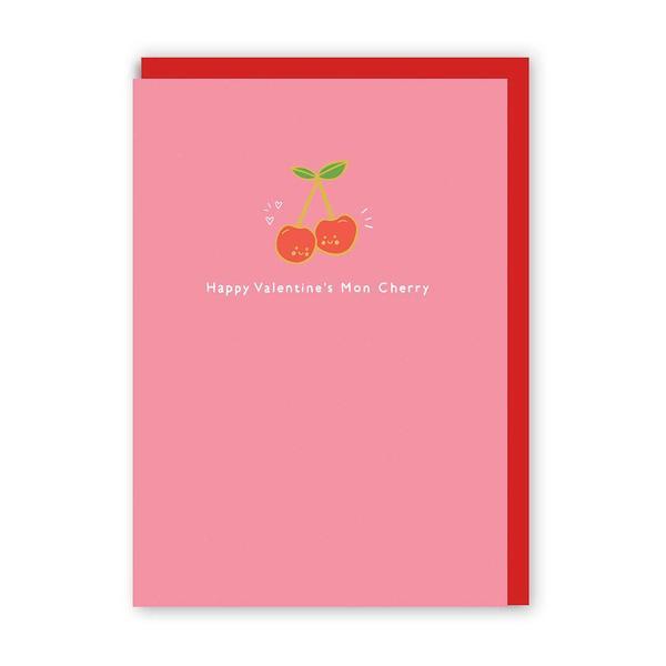 Happy Valentine's Mon Cherry Enamel Pin Greeting Card