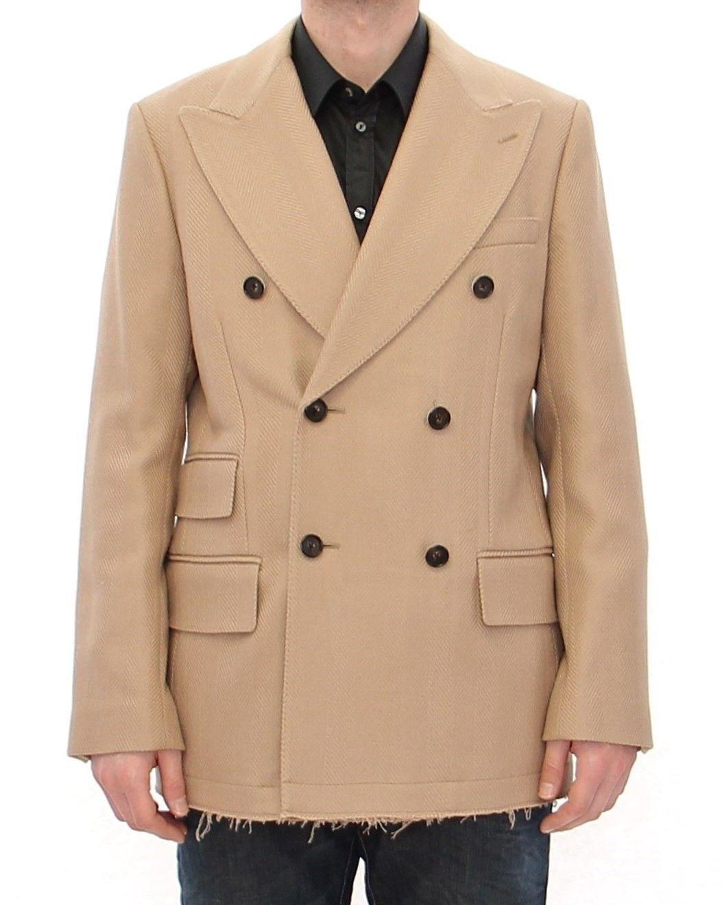 Dolce & Gabbana Men's Double Breasted Coat Beige GJH10801 - IT52   XL