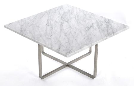 Ninety 60x60 soffbord - Carrara/stomme rostfritt stål