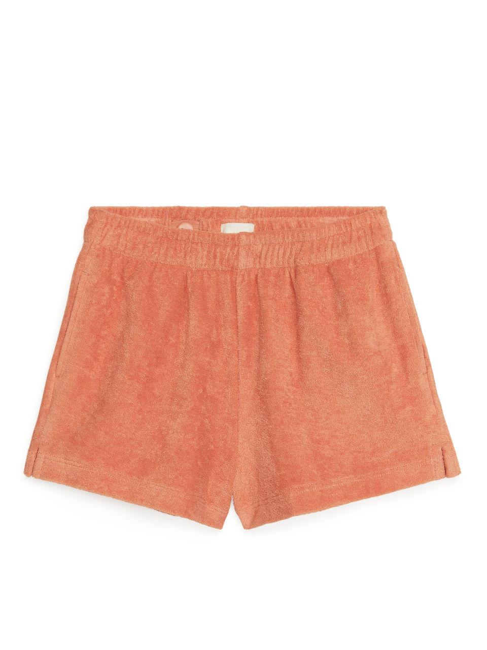 Cotton Towelling Shorts - Orange