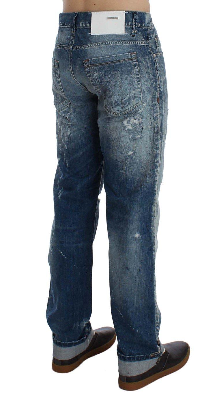 ACHT Men's Torn Denim Cotton Regular Fit Jeans Blue SIG30467 - W34