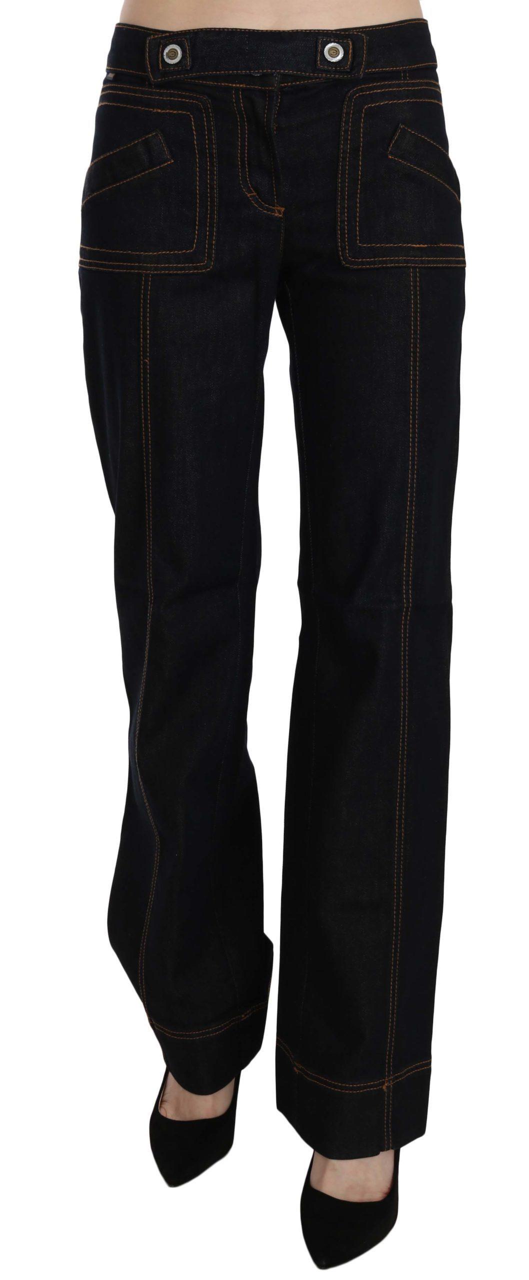 Just Cavalli Women's Mid Waist Straight Denim Trouser Black PAN70369 - W24