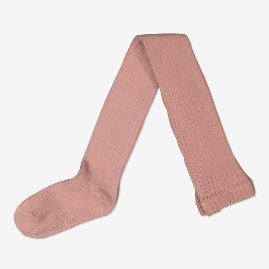 Ribbestrikket strømpebukse med sklisikring rosa