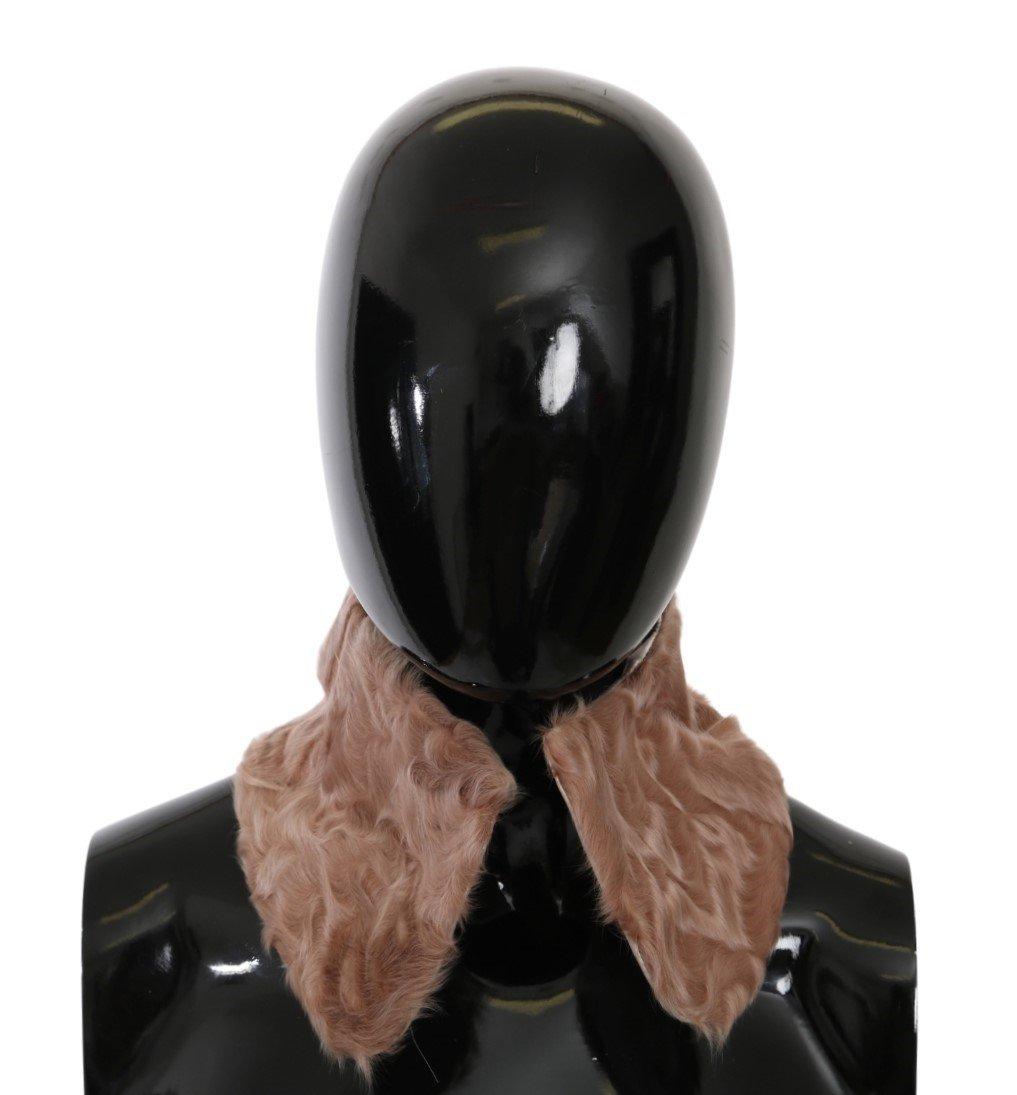 Dolce & Gabbana Women's Fur Collar Wrap Lambskin Scarf Beige MS5583