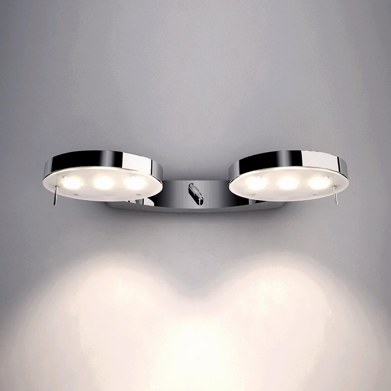 Kiiltäväksi kromattu 3-LED-seinävalaisin, 2-lamppu