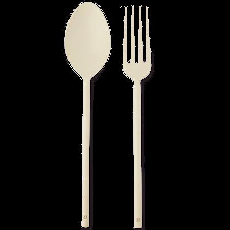 Salatbestikk Metall Beige