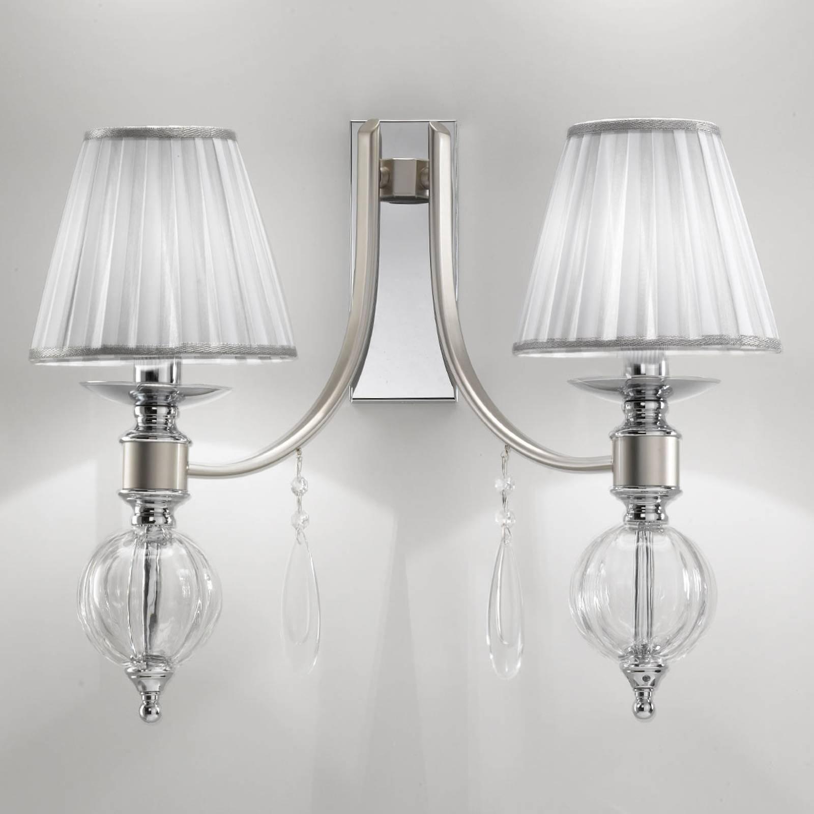 Vegglampe 7330 med glassdråper, 2 lyskilder