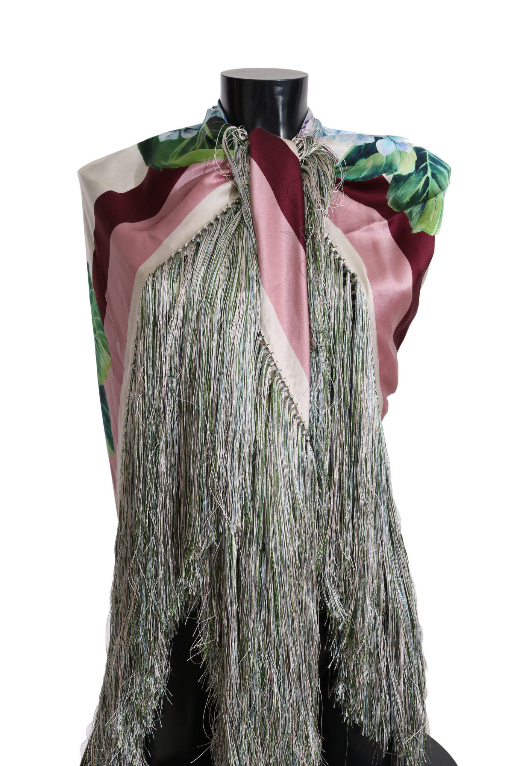 Dolce & Gabbana Women's Hortensia Floral Silk Fringes Scarf Multicolor MS2419