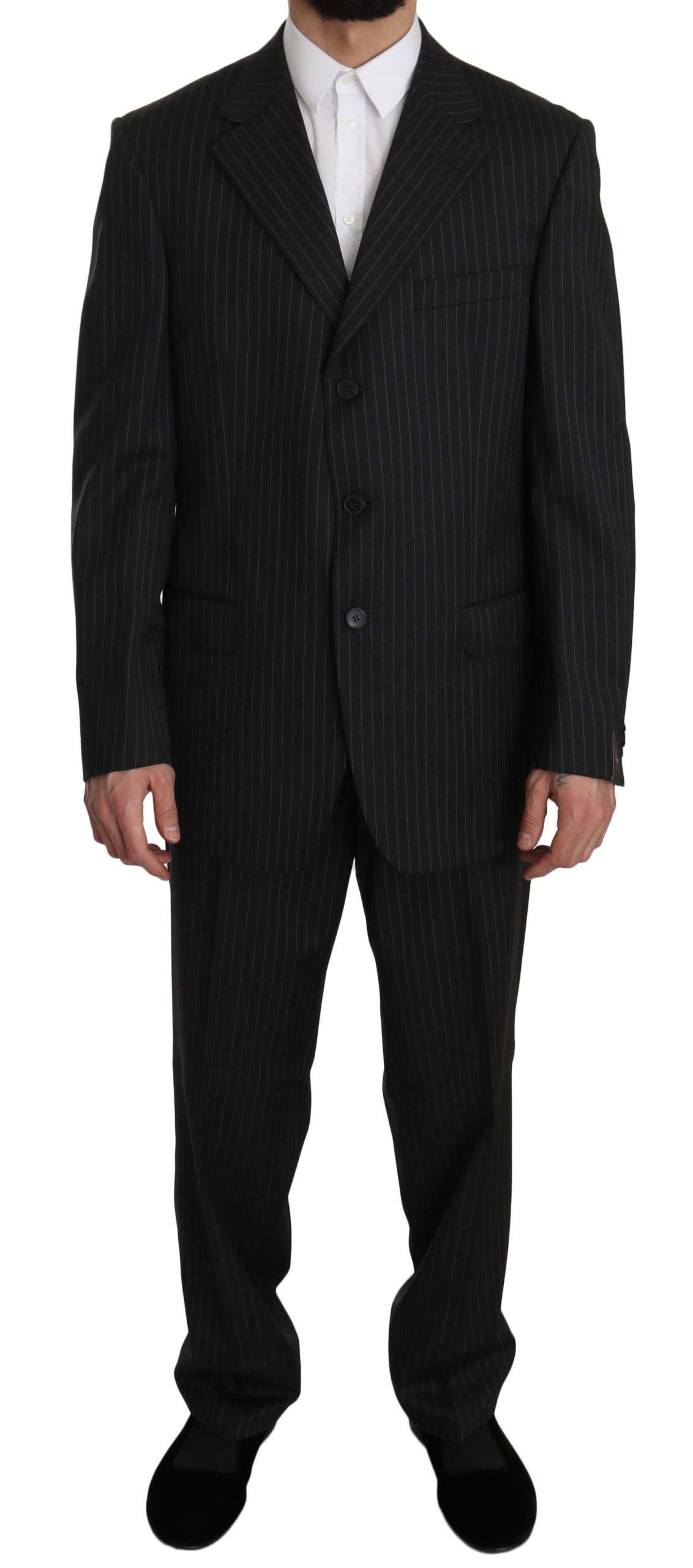 Z ZEGNA Men's Striped Two Piece Suit Black KOS1459 - IT52 | XL