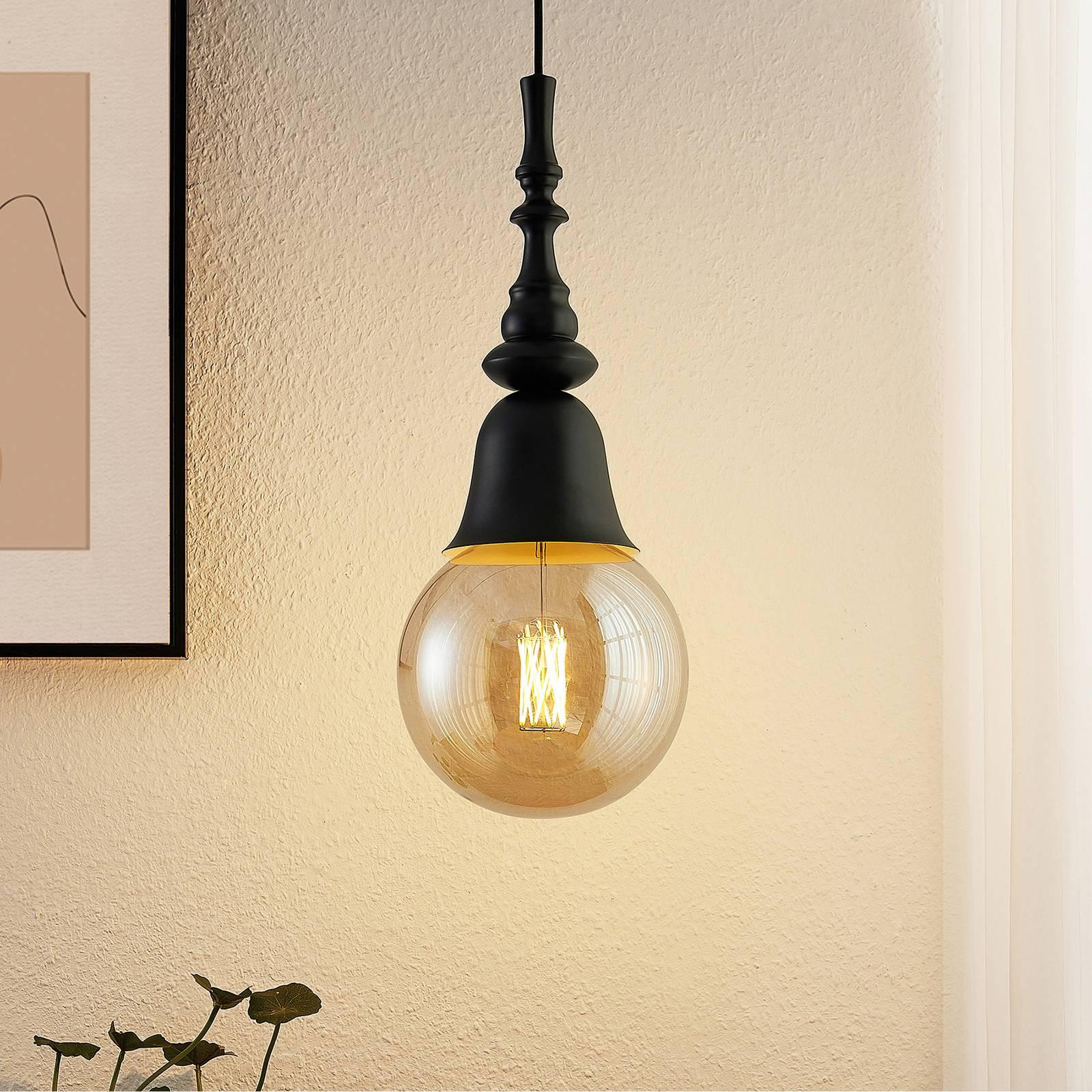 Lucande Gesja -riippuvalo, 1-lamppuinen, musta