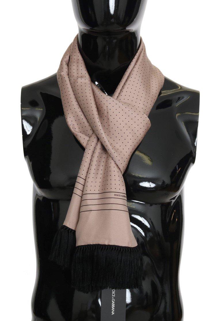 Dolce & Gabbana Men's Polka Dotted Silk Fringes Scarf Pink MS1956
