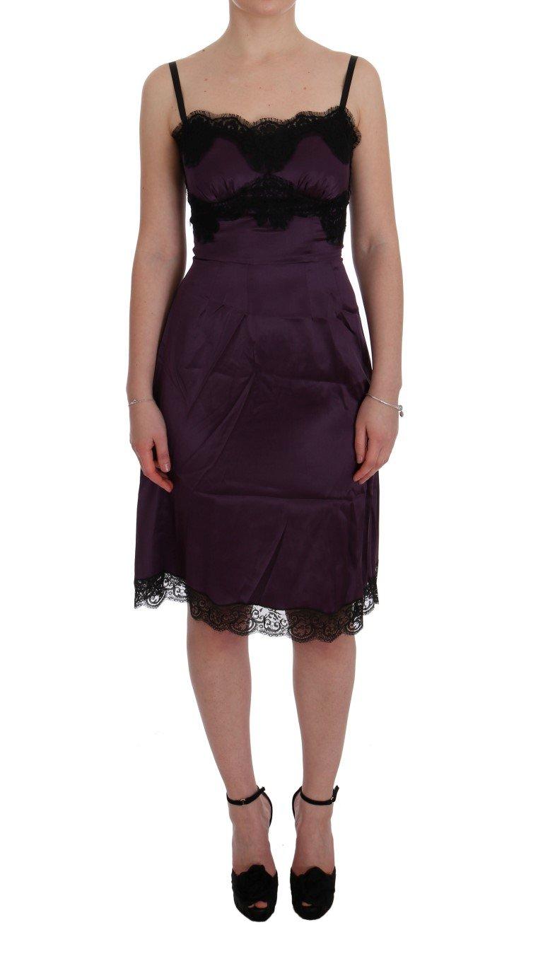 Dolce & Gabbana Women's Silk Stretch Lace Dress Purple SIG50852 - IT36 | XS