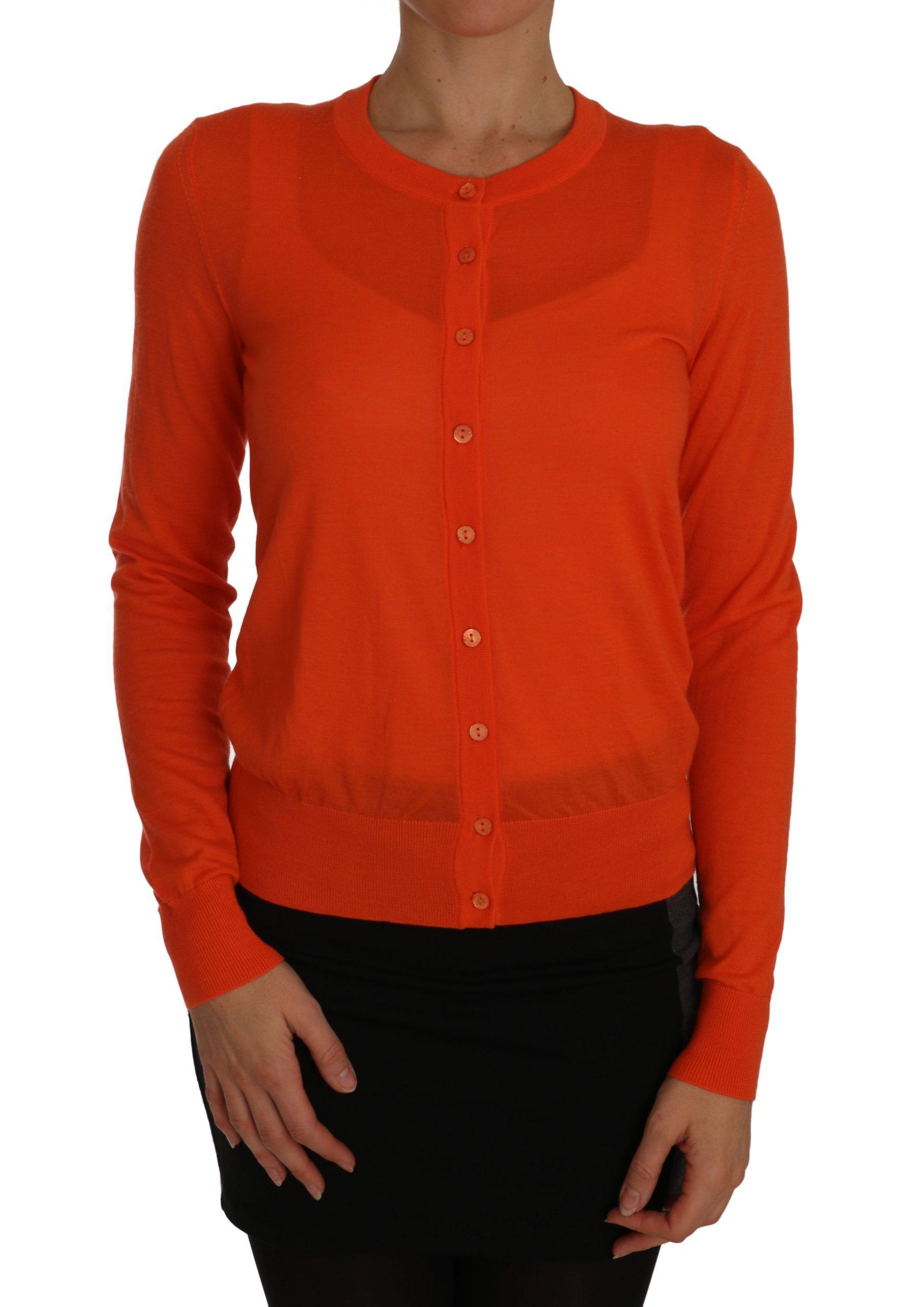 Dolce & Gabbana Women's Lightweight Cashmere Cardigan Orange TSH2265 - IT46 | L