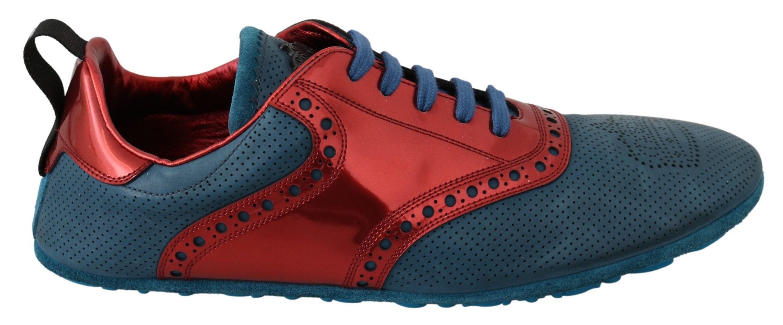 Dolce & Gabbana Men's Shiny Leather Crown Trainer Red MV3037 - EU44/US11