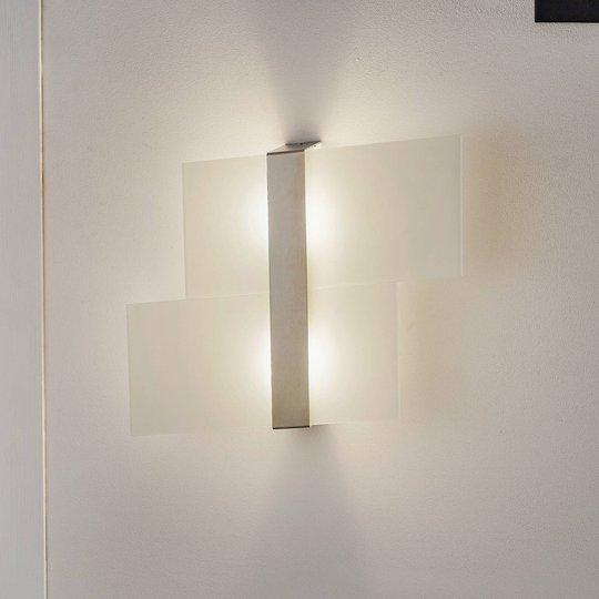 Vegglampe Square, to glassavsnitt, krom
