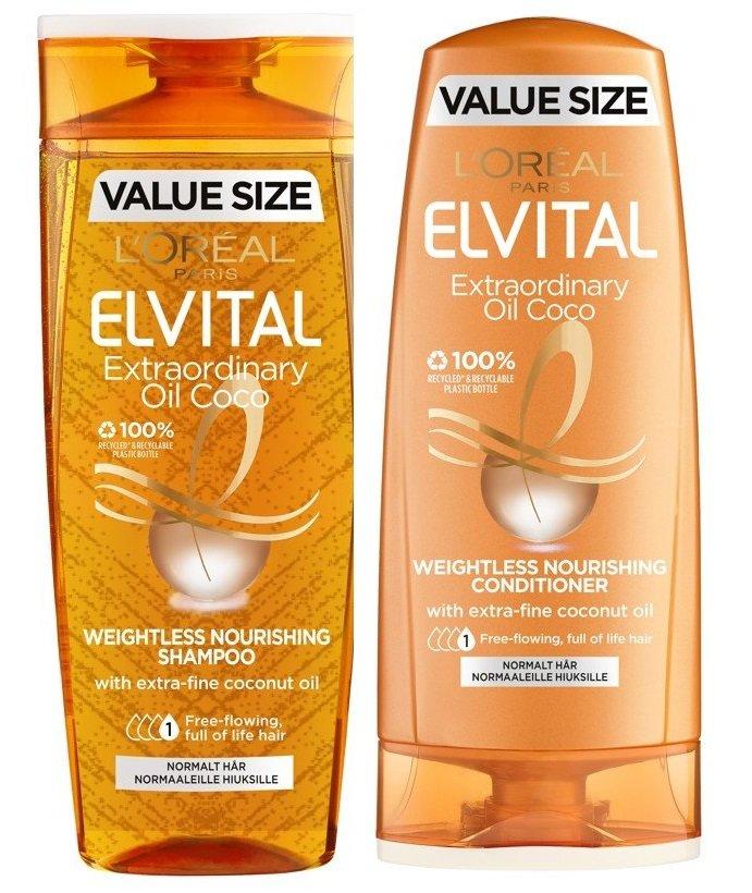 L'Oréal - Elvital Extraordinary Oil Coconut Shampoo 500 ml + Conditoner 400 ml