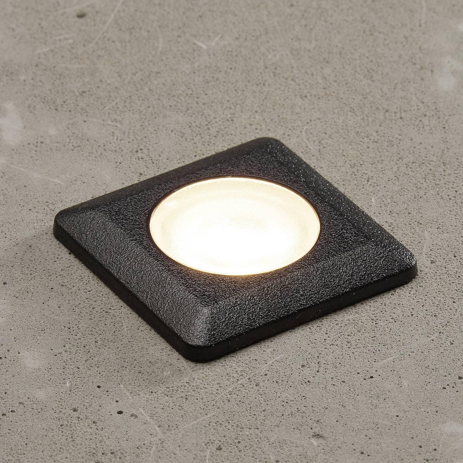 LED-innbyggingslampe ALDO kantet svart/klar 3000 K