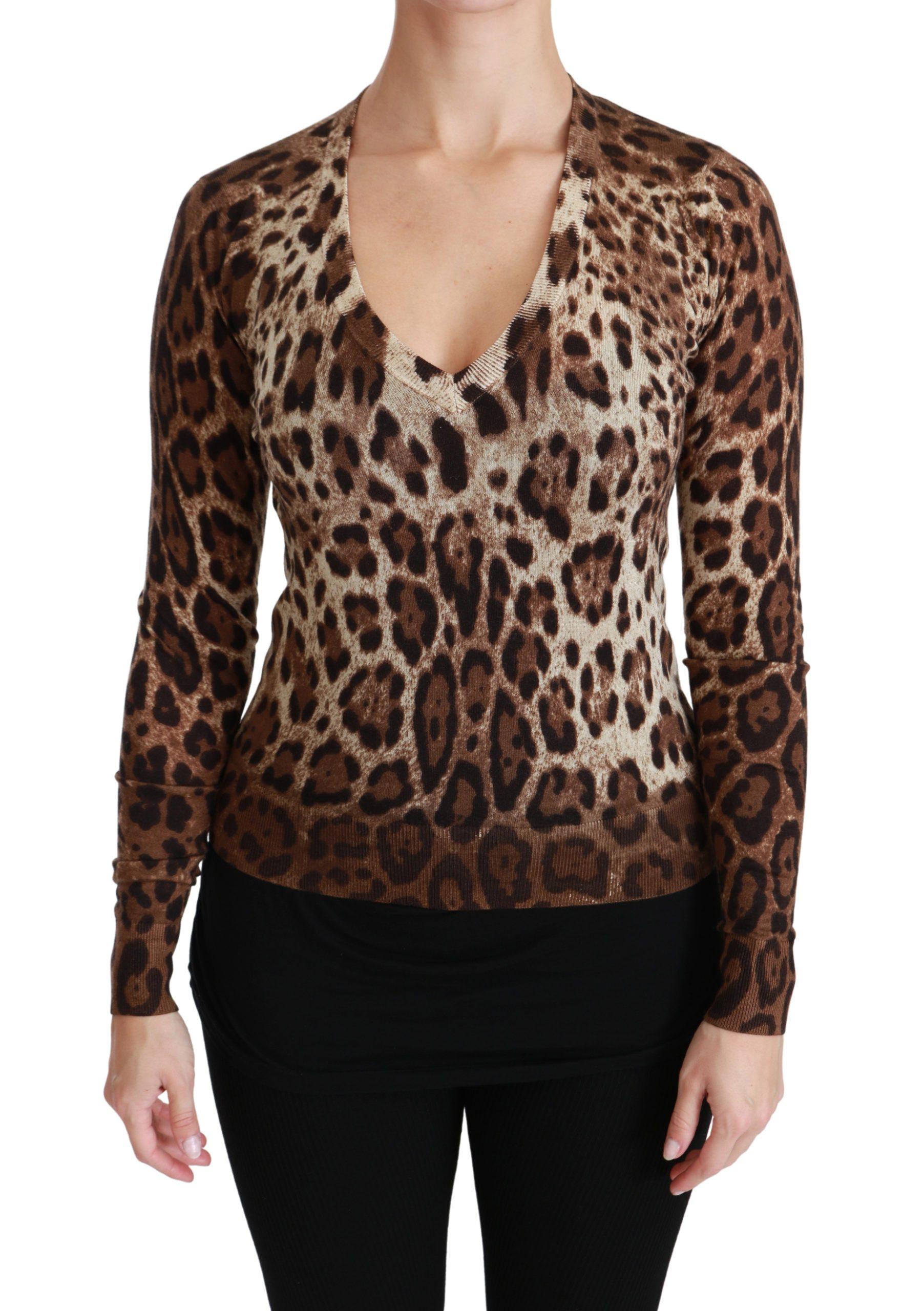 Dolce & Gabbana Women's Leopard Cashmere V-neck Top Sweater Brown TSH4449 - IT36   XS